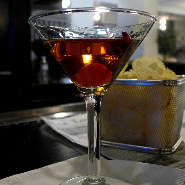 manhattan cocktail at Lord Baltimore Hotel in Baltimore, MD