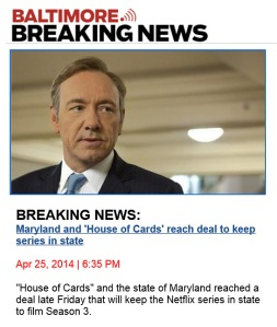 House of Cards continues filming in Maryland