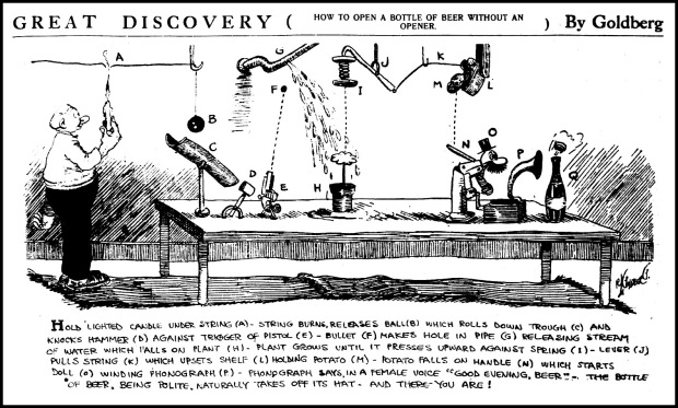 1913  Rube Goldberg machine cartoon beer bottle opener