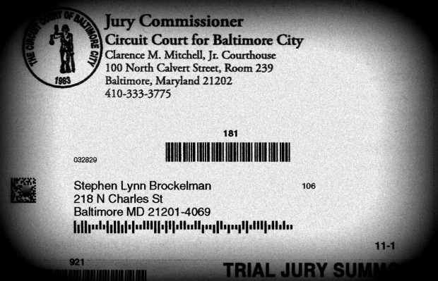 Baltimore City Jury Summons