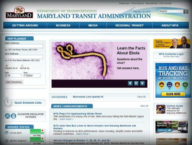 Maryland MTA landing page, 2.18.15