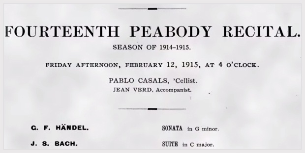 Pablo Casals, Peabody Baltimore