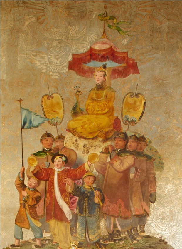 Robert Jones (active 1815-1835), Figurative Chinoiserie panel from the Banqueting Room west wall, in situ, 1817-20, approx. 220 cm x 100 cm. © Royal Pavilion & Museums, Brighton & Hove, not accessioned.