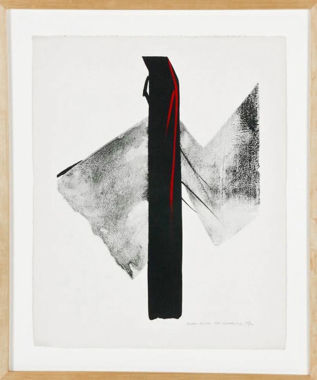 "Toko Shinoda (Japanese, b. 1913) Forms, 1968, Size: 22.25"" x 18"", 57 x 46 cm (irregular sheet); 27.25"" x 23"", 69 x 58 cm (frame)."