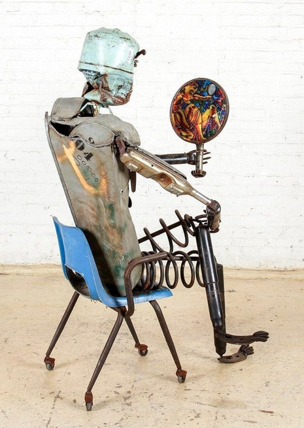 "Motorcycle Man Folk Art Found Object Sculpture. Size: 64"" x 32"" x 44"" (163 x 81 x 112 cm)."