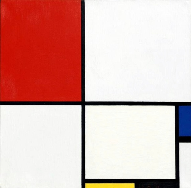 Piet Mondrian's Composition No. III, with Red, Blue, Yellow, and Black, 1929
