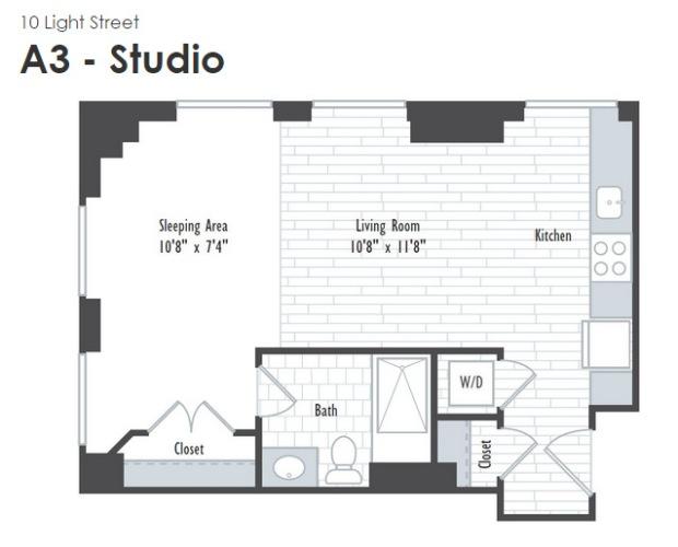 10 Light Street, Studio A3,  $1615 - $1655/month