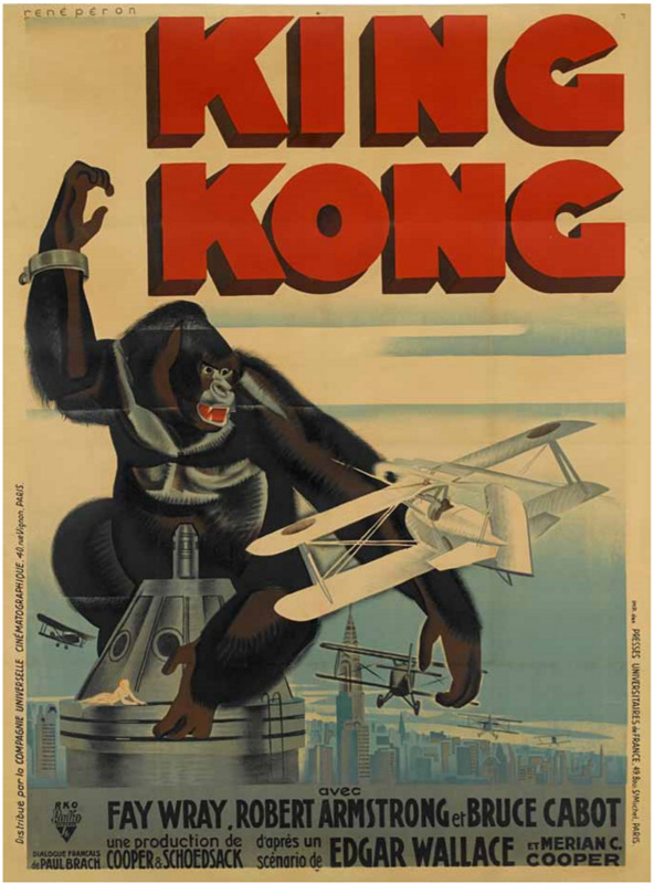 King Kong RKO, 1933. French grande poster, style B, linen-backed. Artwork by René Péron