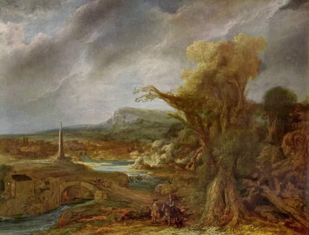 Govaert Flinck, LANDSCAPE WITH AN OBELISK