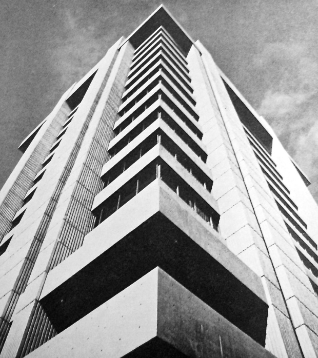 Photo by Orlando R Cabanban published by Inland Architect, Dec. 1969 highlights the structure and rectilinearity of the Blue Cross-Blue Shield building.