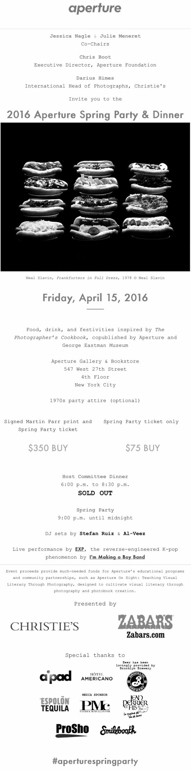 2016 Aperture Spring Party & Dinner