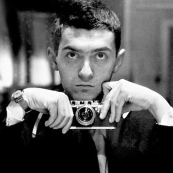 Young Stanley Kubrick, magazine photographer. Self-portrait.