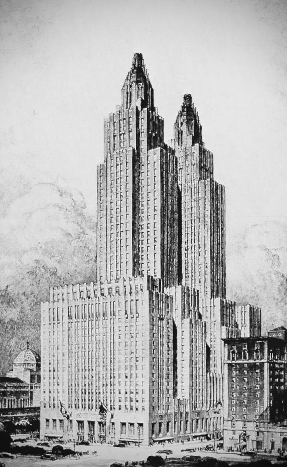 Waldorf Astoria Hotel, Park Avenue, New York City line drawing