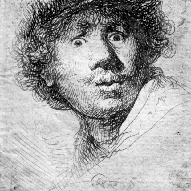 Rembrandt, Self-portrait etching