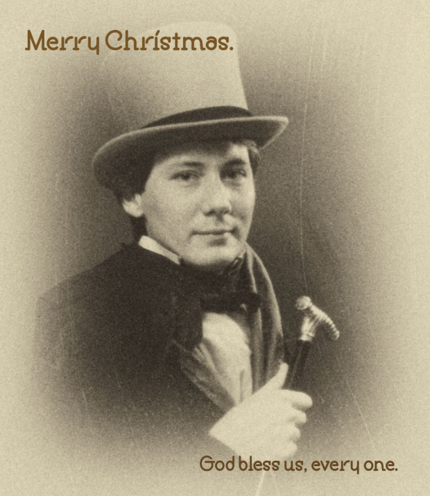 Vintage photo of Stephen Brockelman with message that reads, Merry Christmas. God bless us, every one.
