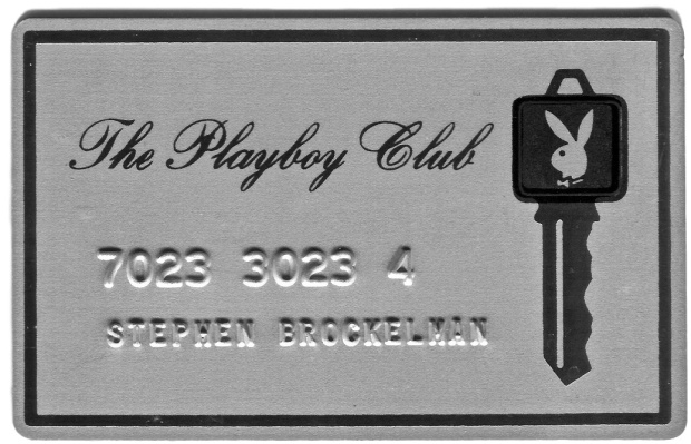 Photo of Playboy Club gold membership card, made of metal.
