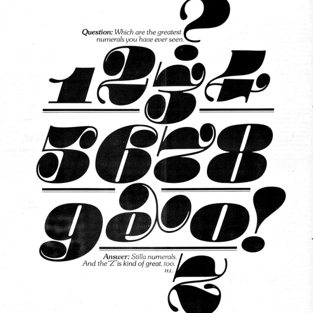 A vintage illustration, Stulla numerals from U&lc magazine.