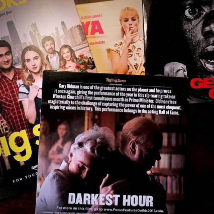 DVDs of Darkest Hour, Big Sick, I Tonya, Get Out