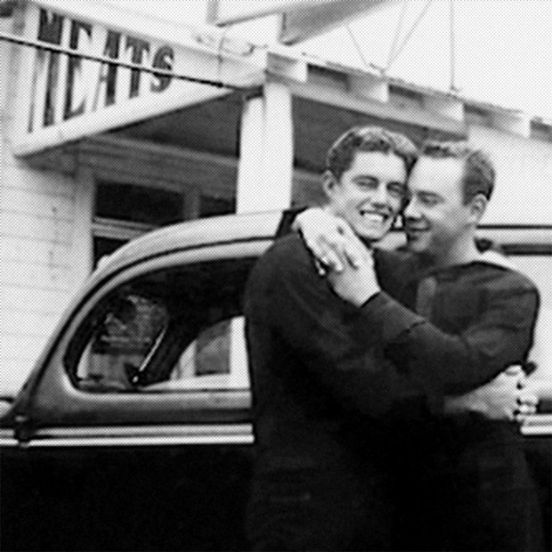 Photo of two men hugging, The Lavender Scare, documentary