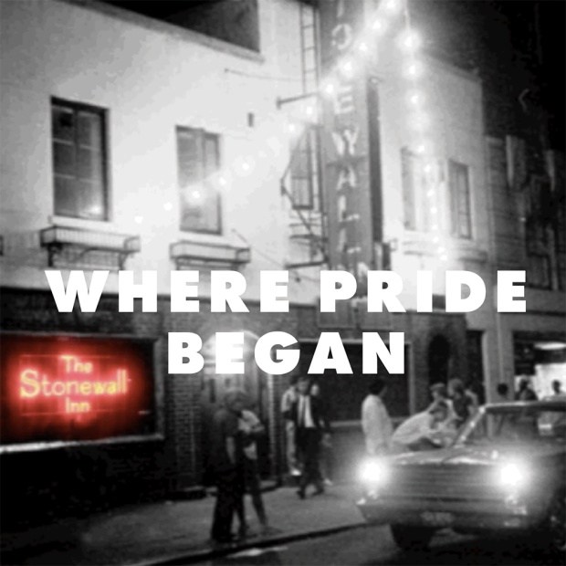 Black and white photo of Stonewall Inn with spot color.